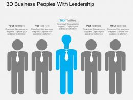 3d Business Peoples With Leadership Flat Powerpoint Design