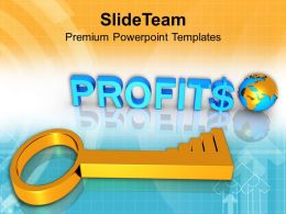 3d Business Profits Global Success Key PowerPoint Templates PPT Themes And Graphics 0213