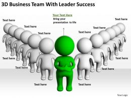 3D Business Team With Leader Success Ppt Graphics Icons Powerpoin