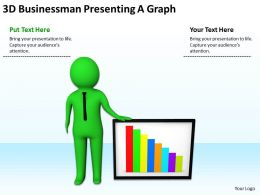 3D Businessman Presenting A Graph Ppt Graphics Icons Powerpoint