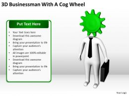 3D Businessman With A Cog Wheel Ppt Graphics Icons Powerpoint
