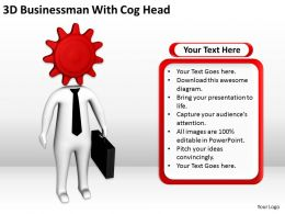 3D Businessman With Cog Head Ppt Graphics Icons Powerpoint