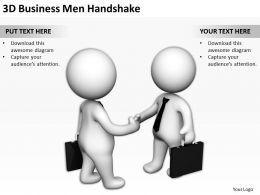 3D Businessmen Handshake Ppt Graphics Icons