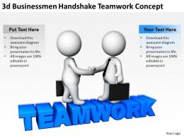 3D Businessmen Handshake Teamwork Concept Ppt Graphics Icons Powerpoint
