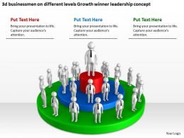 3d businessmen on different levels Growth winner leadership concept Ppt Graphic Icon