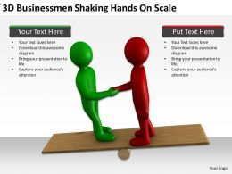 3D Businessmen Shaking Hands On Scale Ppt Graphics Icons Powerpoint
