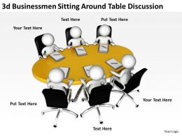 3D Businessmen Sitting Around Table Discussion Ppt Graphics Icons Powerpoint