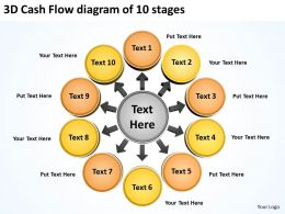 3d cash flow diagram of 10 stages Circular Spoke PowerPoint templates