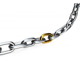 3D Chain With One Golden Link Stock Photo