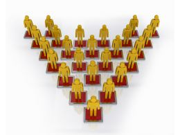 3d Character Pyramid Shows Hierarchy And Teamwork Stock Photo