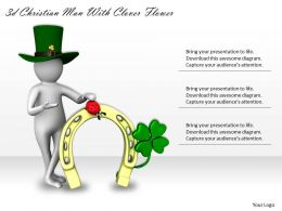 3d Christian Man With Clover Flower Ppt Graphics Icons Powerpoint