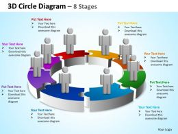 3d circle diagram 8 stages powerpoint diagrams presentation slides graphics 0912