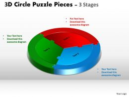 3D Circle diagram Puzzle templates 3 Stages Slide Layout flow 2