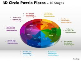 3D Circle Puzzle Diagram 10 Slide Layout 1