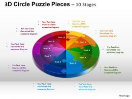 3D Circle Puzzle Diagram 10 Stages Slide Layout 1 ppt Templates 0412