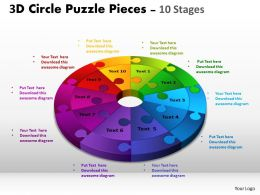 3D Circle Puzzle Diagram 10 Stages Slide Layout 4 2