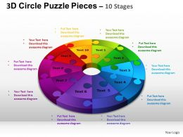 3D Circle Puzzle Diagram 10 Stages Slide Layout 4 ppt Templates 0412