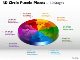 3D Circle Puzzle Diagram 10 Stages Slide Layout 5 3