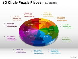 3D Circle Puzzle Diagram 11 Stages Slide Layout 1 ppt Templates 0412