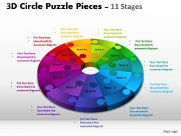 3D Circle Puzzle Diagram 11 Stages Slide Layout 4