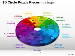 3D Circle Puzzle Diagram 11 Stages Slide Layout 4 ppt Templates 0412