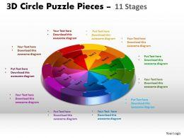 3D Circle Puzzle Diagram 11 Stages Slide templates Layout 2