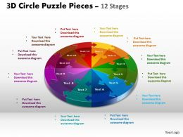 3D Circle Puzzle Diagram 12 Stages Slide Layout 1
