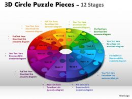 3D Circle Puzzle Diagram 12 Stages Slide Layout 4