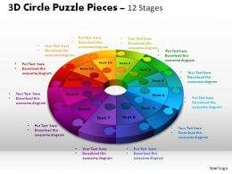 3D Circle Puzzle Diagram 12 Stages Slide Layout 4 ppt Templates 0412