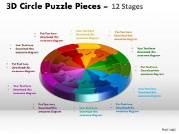 3D Circle Puzzle Diagram 12 Stages Slide Layout 5