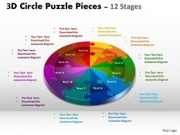 3D Circle Puzzle Diagram 12 Stages templates Slide Layout 1