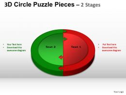 3D Circle Puzzle Diagram 2 Stages Slide Layout 1 ppt Templates 0412