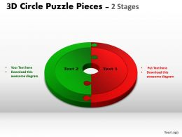 3D Circle Puzzle Diagram 2 Stages Slide Layout 2