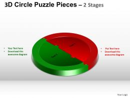 3D Circle Puzzle Diagram 2 Stages Slide Layout 5 ppt Templates 0412