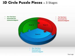 3D Circle Puzzle Diagram 3 Stages Slide Layout 1