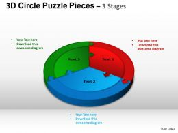 3D Circle Puzzle Diagram 3 Stages Slide Layout 1 ppt Templates 0412