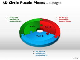 3D Circle Puzzle Diagram 3 Stages Slide Layout 4