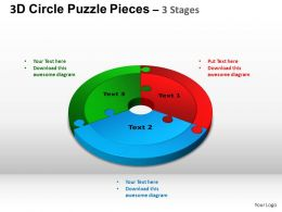 3D Circle Puzzle Diagram 3 Stages Slide Layout 4 ppt Templates 0412