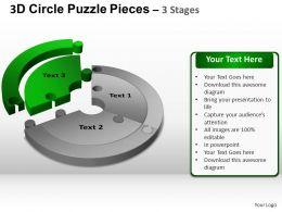 3D Circle Puzzle Diagram 3 Stages Slide Layout 4 ppt Templates 0412