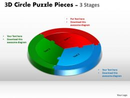 3D Circle Puzzle Diagram 3 Stages Slide Layout 5