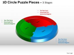 3D Circle Puzzle Diagram 3 Stages Slide Layout 5 ppt Templates 0412