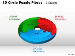 3D Circle Puzzle Diagram 3 Templates Stages Slide Layout 2