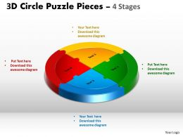 3D Circle Puzzle Diagram 4 Stages Slide circular templates Layout 2
