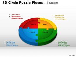 3D Circle Puzzle Diagram 4 Stages Slide Layout 1