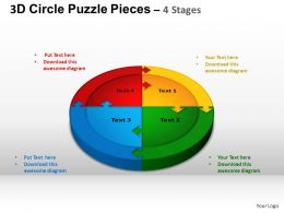 3D Circle Puzzle Diagram 4 Stages Slide Layout 1 ppt Templates 0412