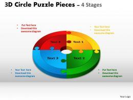 3D Circle Puzzle Diagram 4 Stages Slide Layout 4