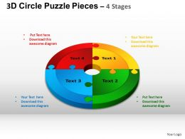3D Circle Puzzle Diagram 4 Stages Slide Layout 4 ppt Templates 0412
