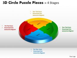 3D Circle Puzzle Diagram 4 Stages Slide Layout 5