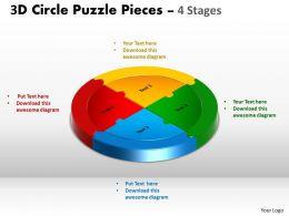 3D Circle Puzzle Diagram 4 Stages Slide Layout 5