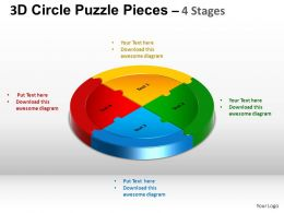 3D Circle Puzzle Diagram 4 Stages Slide Layout 5 ppt Templates 0412